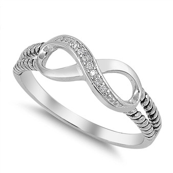 Quality Sterling Silver Infinity Ring with CZ