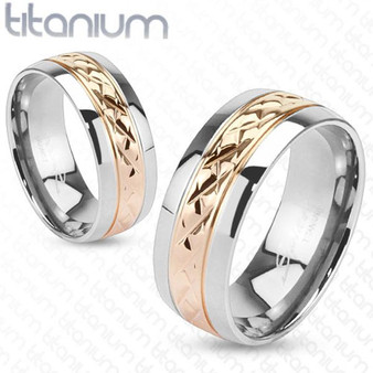 Personalized Solid Titanium Band Ring with Rose Gold IP