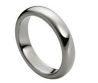 4mm Polished Shiny Domed Tungsten Ring