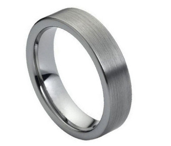 6mm Tungsten Carbide Brushed Polished Flat Pipe Cut Style - Free Engraving
