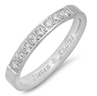 Quality Stainless Steel Half Eternity Ring with Clear CZ