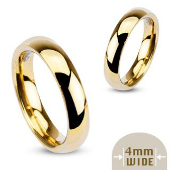 4mm Stainless Steel Polished Gold Color Traditional Band Ring