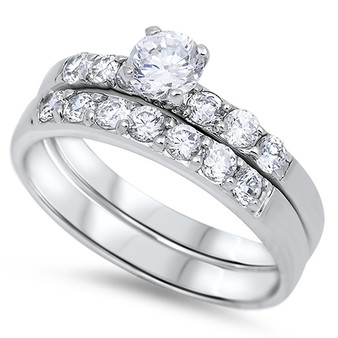Personalized Sterling Silver With CZ Wedding Ring Set
