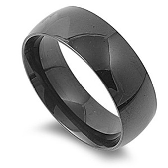 8mm Black Stainless Steel Shiny Ring - Free Engraving