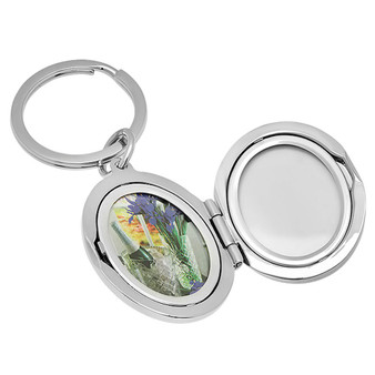 Personalized Oval Locket Keychain - Free Engraving