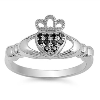 Quality Sterling Silver with Black CZ Claddagh Ring