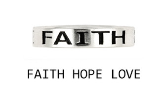 Personalized 4mm Sterling Silver Faith Hope Love Band Ring