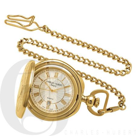 Gold-Plated Hunter Case Quartz Charles Hubert Pocket Watch