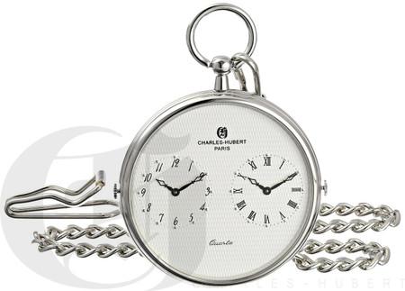 Personalized Charles-Hubert Paris Dual Time Quartz Pocket Watch