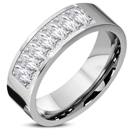 6mm Stainless Steel Chanel - Set Comfort Fit Ring with Clear CZ