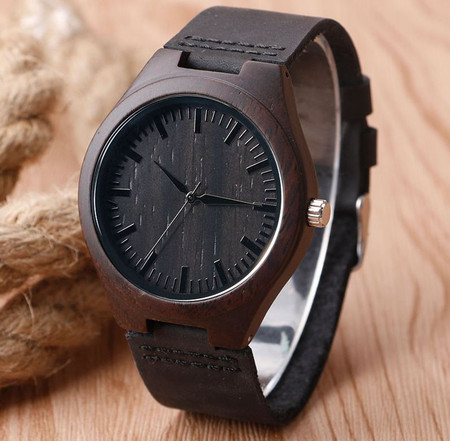Personalized Black Bamboo Wood Watch With Genuine Black