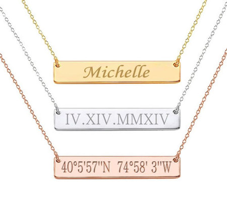 Personalized stainless steel custom name bar necklace forevergifts personalized stainless steel custom name bar necklace aloadofball Choice Image