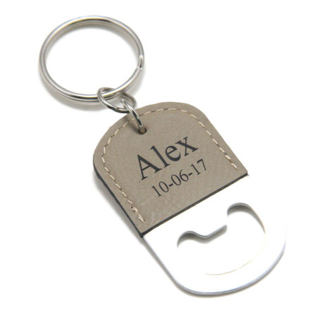 personalized light brown leatherette bottle opener keychain