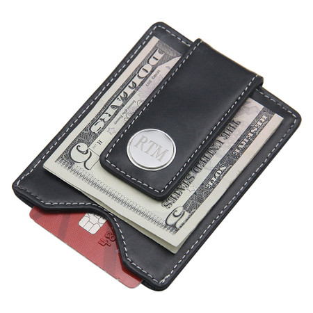 personalized genuine leather magnetic money clip card holder - Money Clip And Card Holder