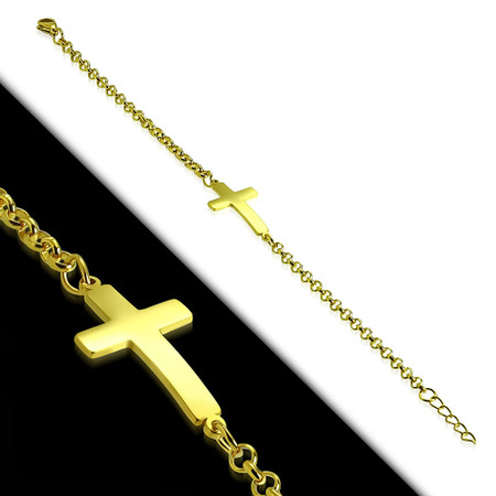 Stainless Steel Gold Color Plated Latin Cross Rolo Link Chain Bracelet