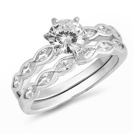 Personalized 925 Sterling Silver Wedding Ring Set With Cubic