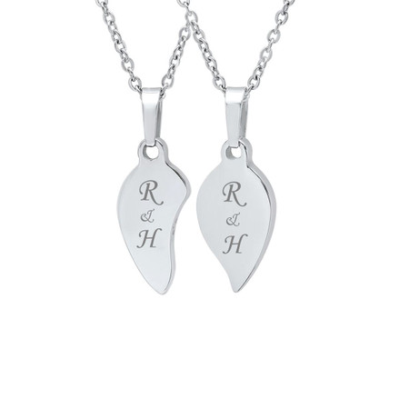 Personalized couples split heart stainless steel pendant with chain personalized couples split heart stainless steel pendant with chain aloadofball Gallery