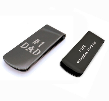 Stainless Steel Black #1 Dad Money Clip Father's Day Gift