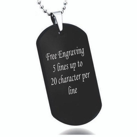 Personalized high polish black tungsten carbide dog tag pendant personalized high polish black tungsten carbide dog tag pendant aloadofball Choice Image
