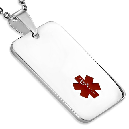 Stainless steel medical id dog tag pendant free engraving stainless steel medical id dog tag pendant free engraving aloadofball Images