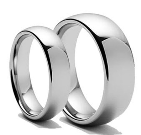 Personalized His & Hers Tungsten Carbide Polished Shiny Ring