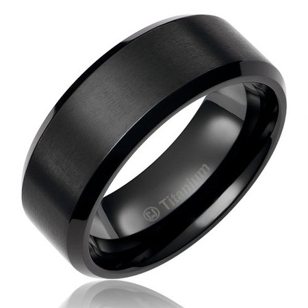 Black Enamel Titanium Ring Brushed Center Beveled Edge 8mm
