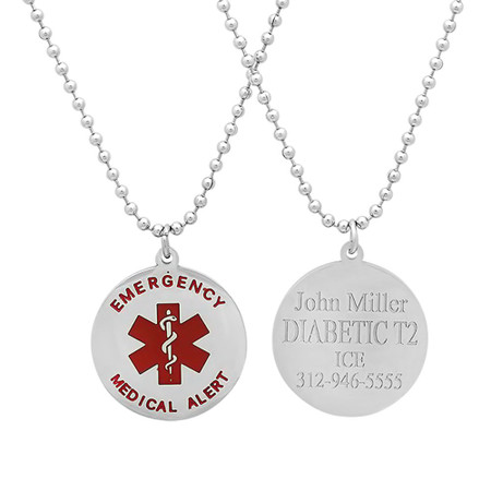 Quality stainless steel circle medical alert pendant forevergifts quality stainless steel circle medical alert pendant mozeypictures Images