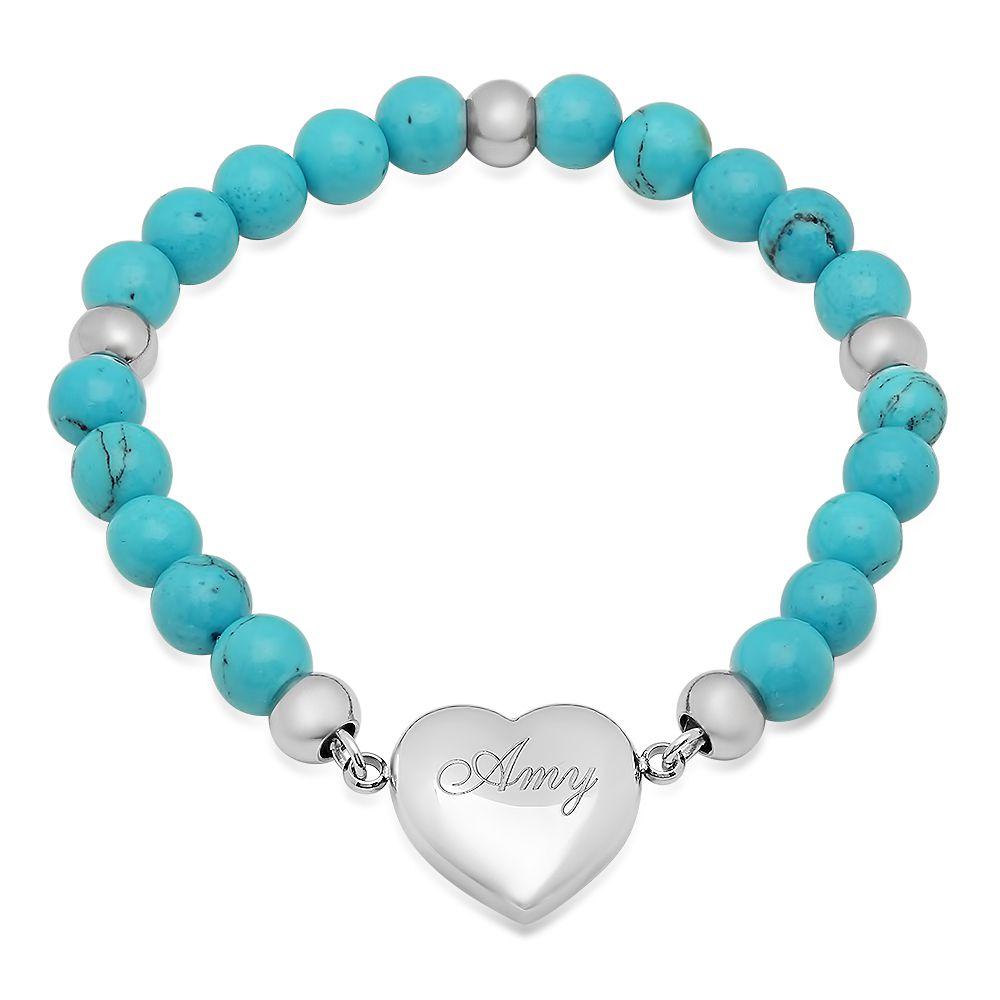 Blue Charm Bracelet: Personalized Heart Charm Bracelet With Blue Stone