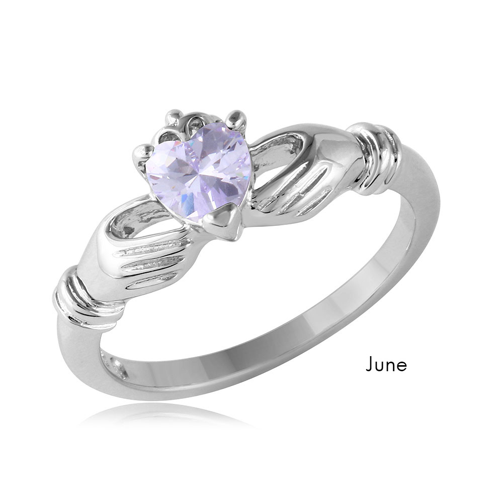 silver s email ladies engagement birthstone ring larger p claddagh ls rings htm june photo