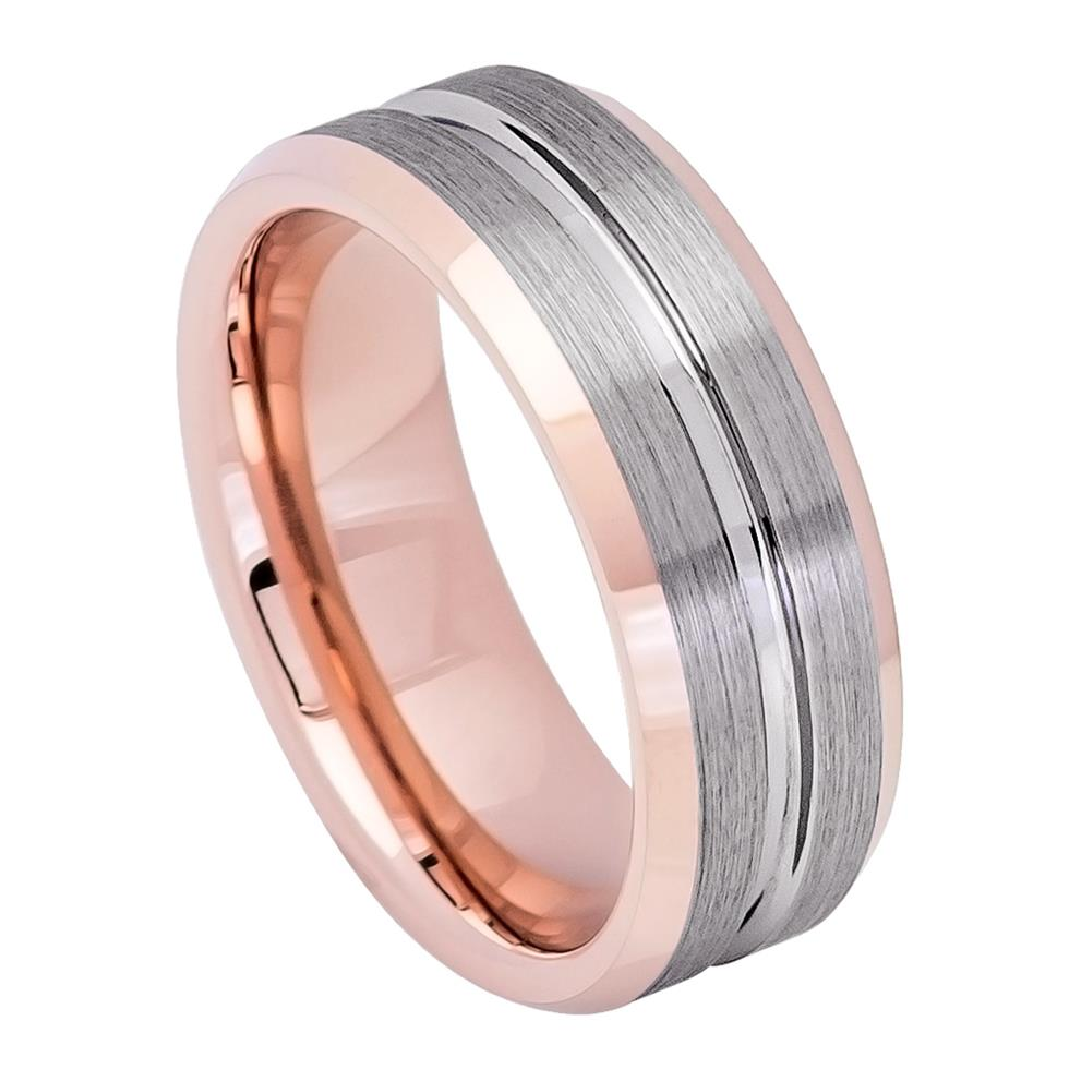 Rose Gold IP Inside & Gun Metal Grooved Brushed Center Tungsten Ring ...