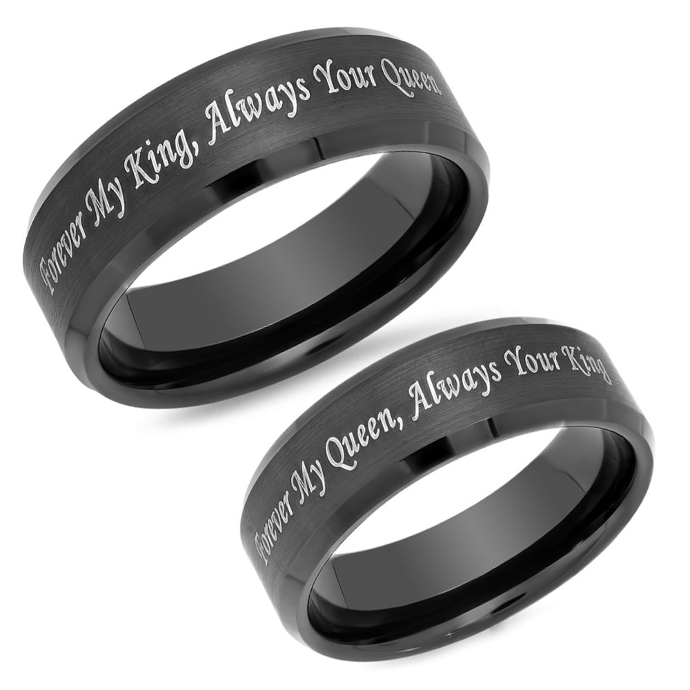 mens king tungsten duo rings finish matte will blue black ring wedding products edge band beveled brandline