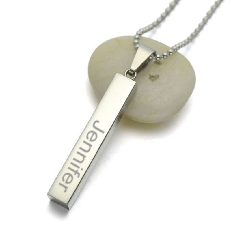 Personalized stainless steel bar charm necklace pendant aloadofball Images