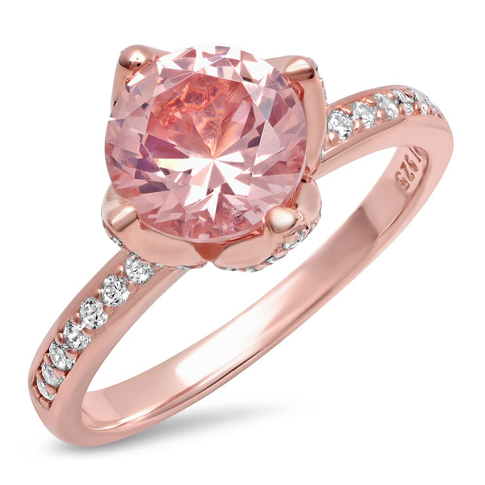 Personalized Quality Rose Gold Plated Sterling Silver Ring With CZ ...