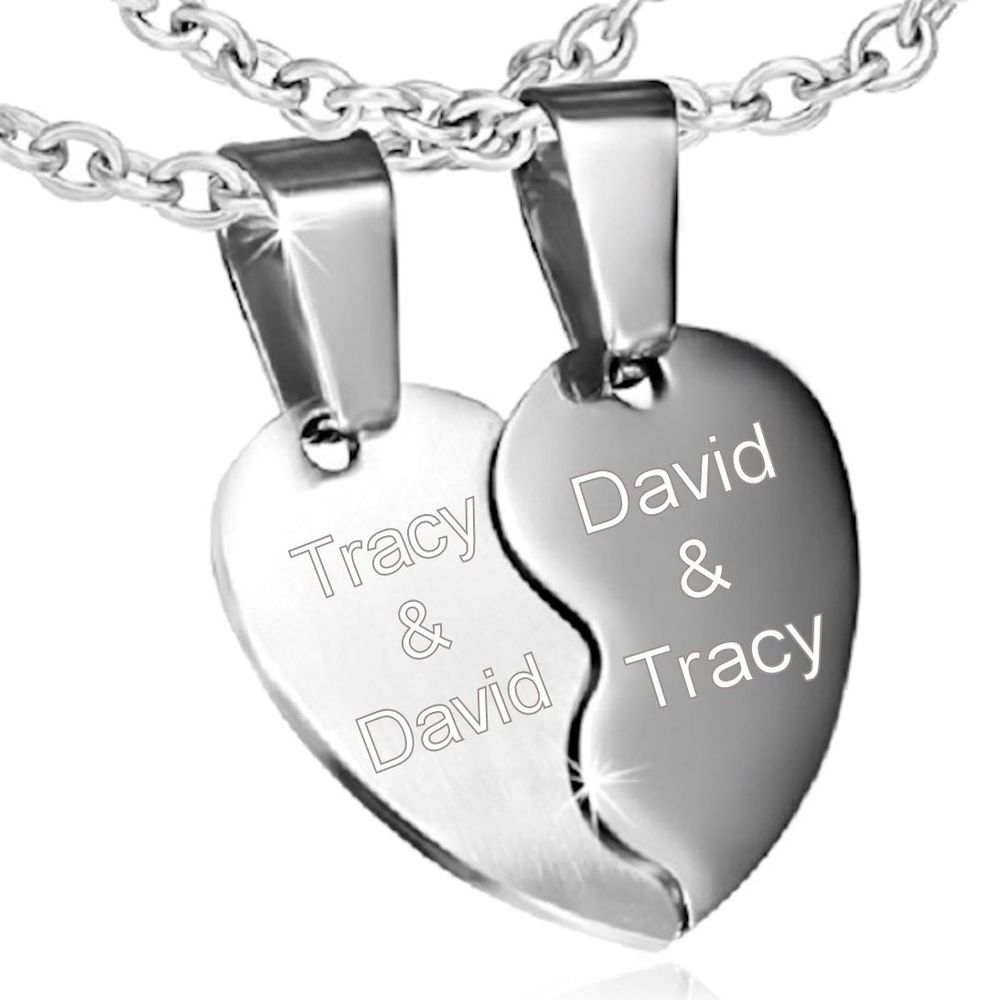 Personalized couples split heart stainless steel pendant personalized name necklace aloadofball Gallery