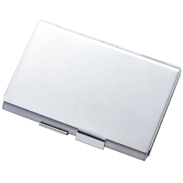 Shiny Silver Stainless Steel Double Sided Card Case - ForeverGifts.com