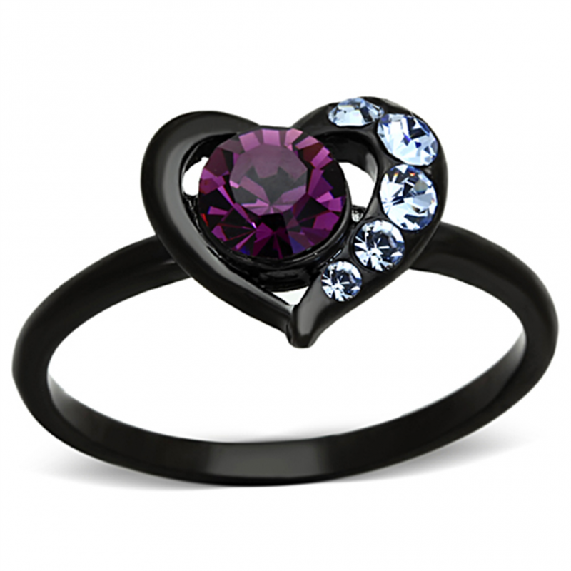 personalized stainless steel black ip amethyst heart ring. Black Bedroom Furniture Sets. Home Design Ideas