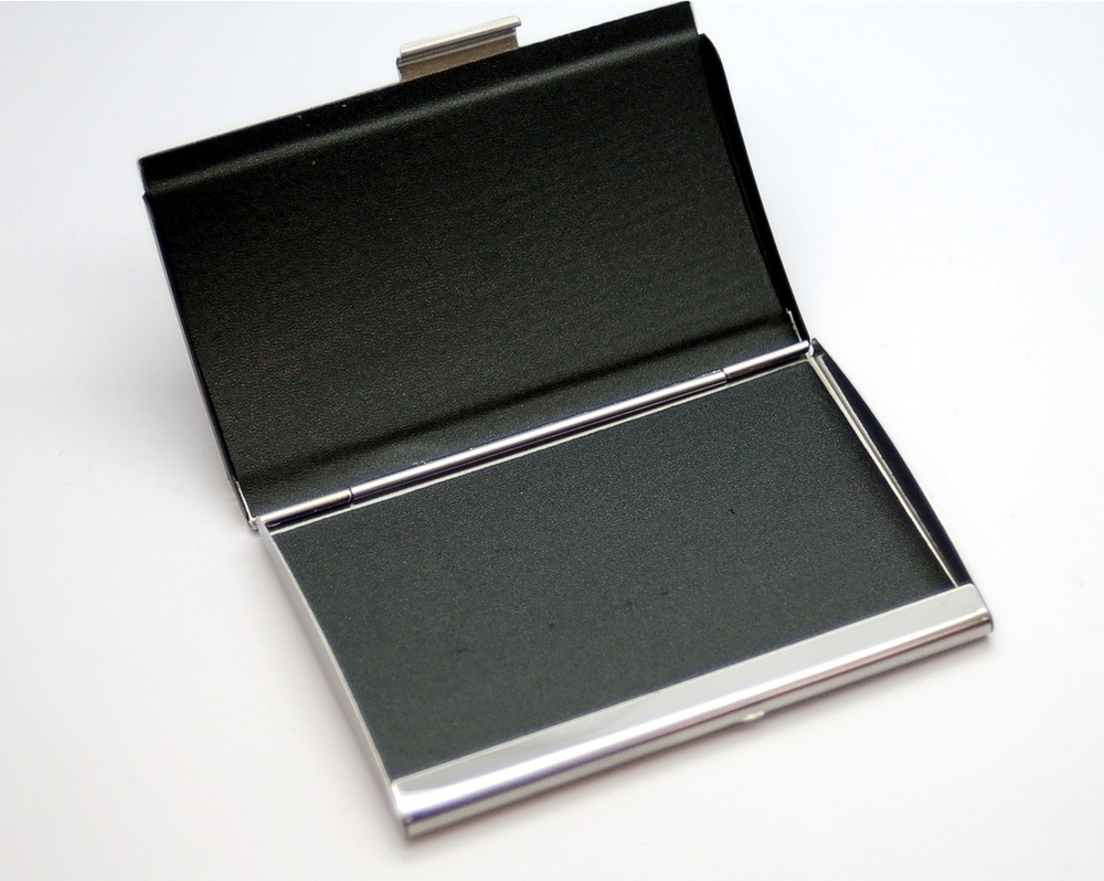 Black and Silver Business Card Holder - ForeverGifts.com
