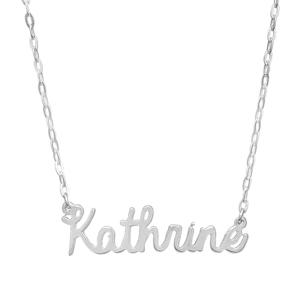 style silver necklace cursive nameplate the more name views