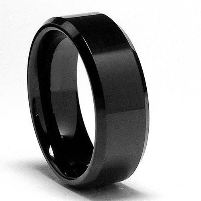 Beveled Edge Black Tungsten Wedding Band Free Engraving