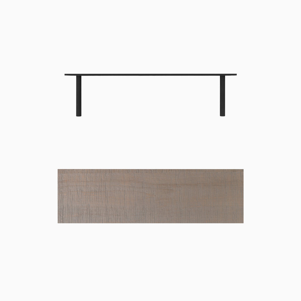 """Grey stained, bandsaw textured solid alder floating shelf. Choose any length from 12 to 84 inches. All shelf options are 2"""" thick, available in 6"""", 8"""", 10"""", and 12"""" depths, and include heavy duty floating shelf bracket."""