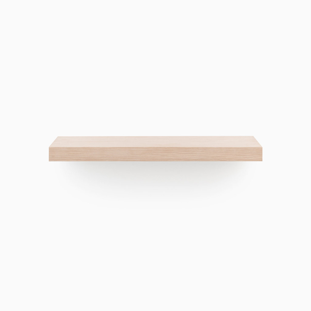 Our glaze finished white oak floating shelf system. If you've been looking for stunning designer floating shelves, our premium, cut-no-corners engineered shelf is smooth, built to your specified length, includes our heavy duty floating shelf hardware and is ready for you to apply the finish of your choice.