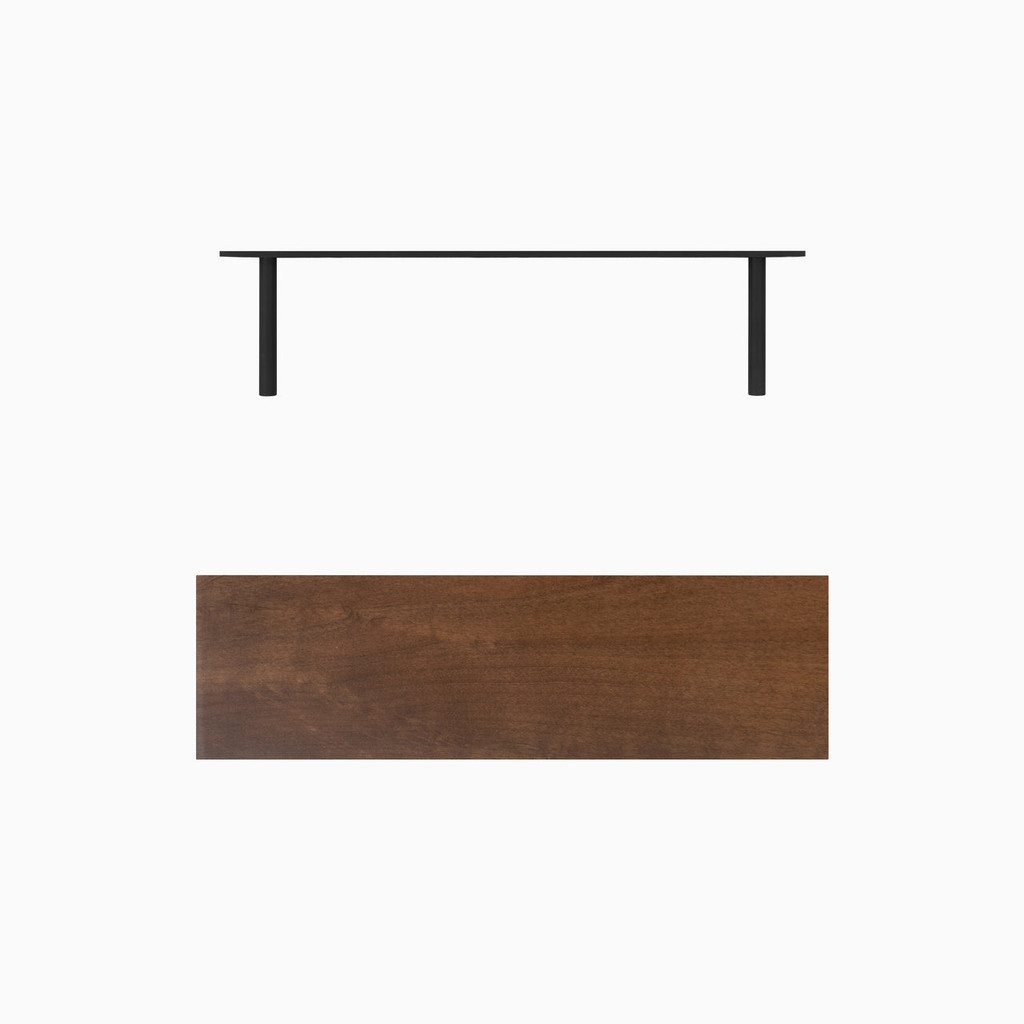 """Dark brown stained solid alder floating shelf. Choose any length from 12 to 84 inches. All shelf options are 2"""" thick, available in 6"""", 8"""", 10"""", and 12"""" depths, and include heavy duty floating shelf bracket."""