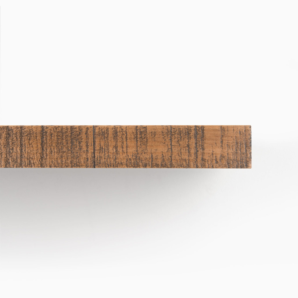 Front edge of our rough cut nutmeg solid alder floating shelf.
