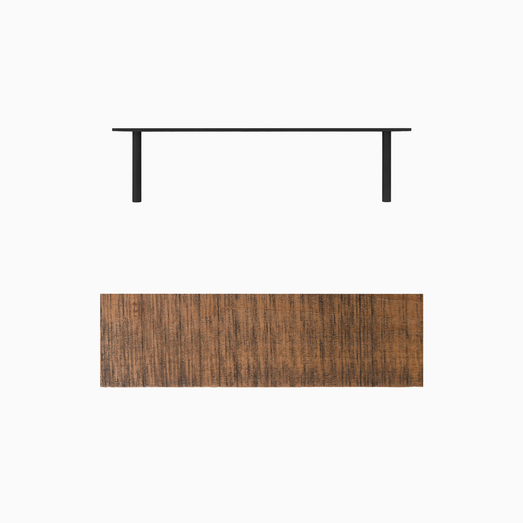 """Light brown stained, bandsaw textured solid alder floating shelf. Choose any length from 12 to 84 inches. All shelf options are 2"""" thick, available in 6"""", 8"""", 10"""", and 12"""" depths, and include heavy duty floating shelf bracket."""