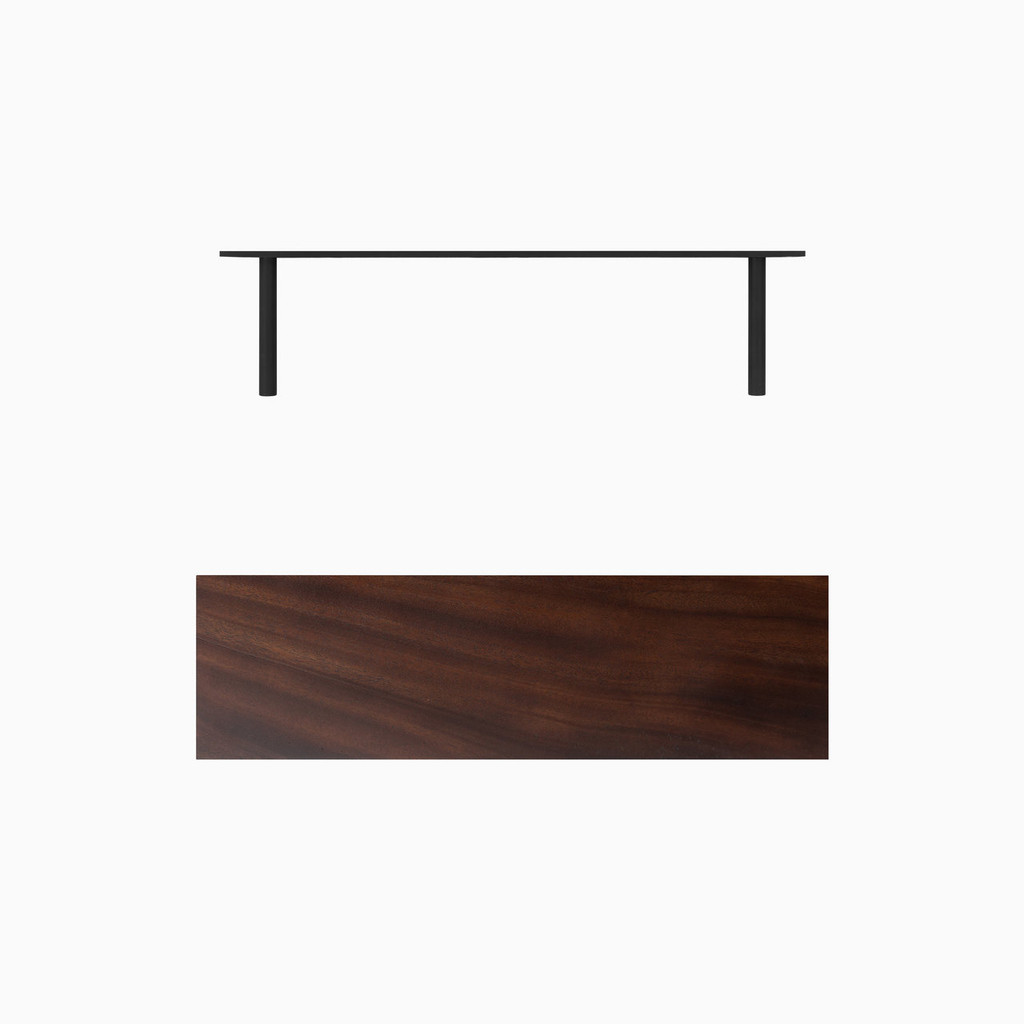 """Dark brown stained solid mahogany floating shelf. Choose any length from 12 to 84 inches. All shelf options are 2"""" thick, available in 6"""", 8"""", 10"""", and 12"""" depths, and include heavy duty floating shelf bracket."""