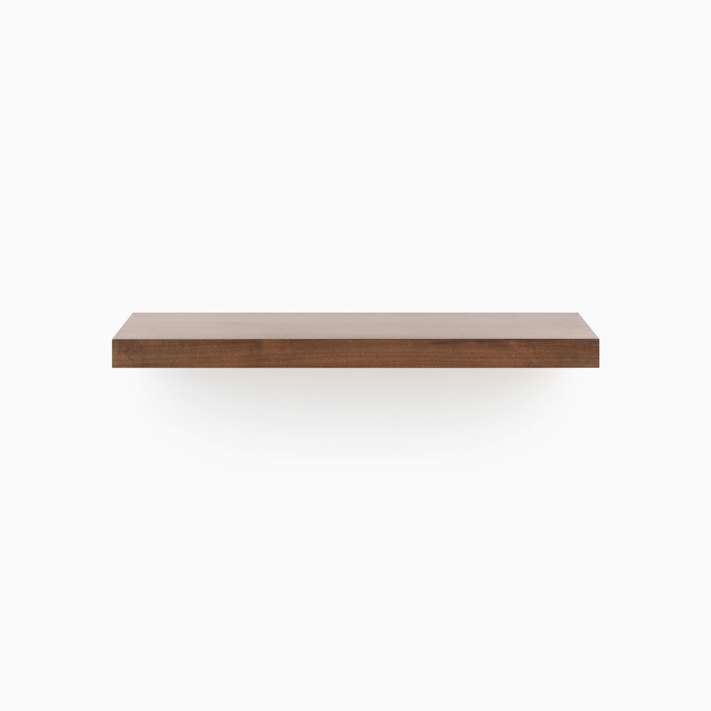 Our Dutch Mocha floating shelf system is easy to install and will float real weight. If you've been looking for stunning designer floating shelves, our premium, cut-no-corners engineered shelf is smooth, built to your specified length, includes our heavy duty floating shelf hardware and is ready for you to apply the finish of your choice.