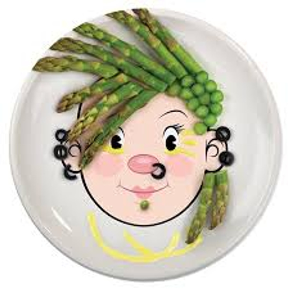 are you a girl with a taste for fashion? Here's a way to eat, play and make a fashion statement at the same time! Give Ms. Food Face a broccoli bouffant, try out a stylish pair of edible blueberry earrings or strawberry lips. The possibilities are limited only by your menu!