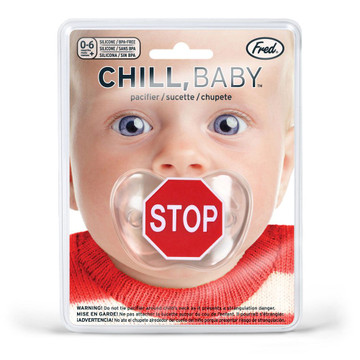 Fred's Chill, Baby pacifier has a traditional traffic sign motif that tells baby when it's time to STOP. Remember kid, it's the law. PVC- and BPA-free and meets all safety requirements