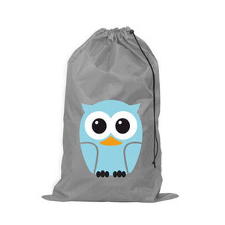 Kikkerland Owl Laundry Bag - LB04-B Gray Draw String