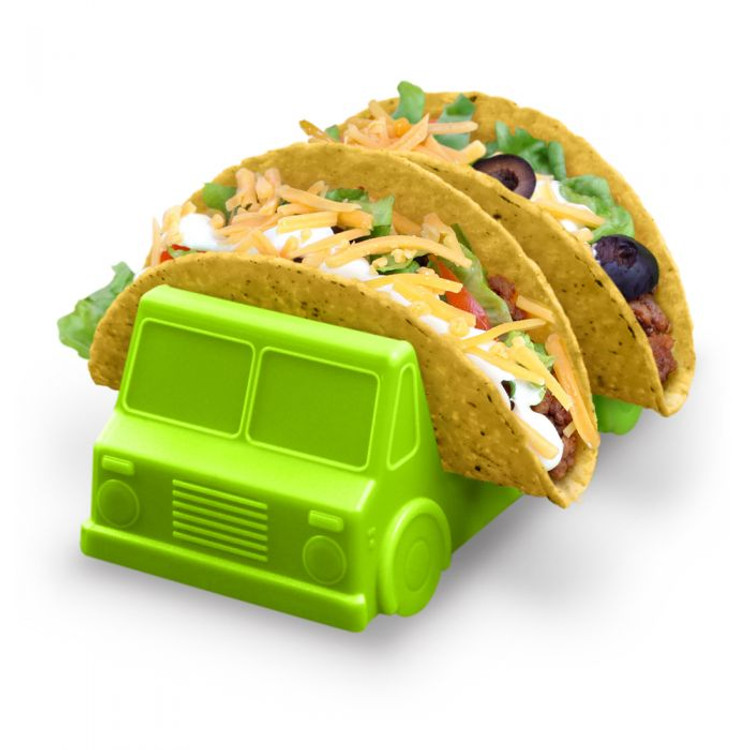 "As is Taco Tuesday wasn't already fun enough! Fred's Taco Truck Taco Holders feature two washable and food-safe plastic trays that hold tacos stable and upright. The 2-truck set is made from food-safe polypropylene and washes easily by hand. Includes 2 taco trucks- one salsa red and one guacamole green. Each measures 2.88"" w x 6.7"" h x 2.36"" d."